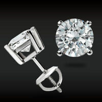 6MM Lab-Created Diamond 14k White Gold Over Round Cut Screw-Back Stud Earrings