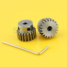 2 x 1M-20T 7mm Bore Hole 20 Teeth 20T Module 1 Motor Metal Gear Wheel Top Screw
