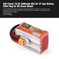 ZOP Power 18.5V 2000mAh 95C 5S 1P Lipo Battery XT60 Plug for RC Drone Model LV