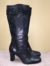 Parade Women Black Tall boots -Leather/man made upper -zipper-size 9