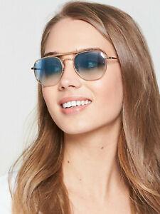 RAY BAN RB3648 54-21 MARSHAL  Sunglasses LIGHT BLUE Lens, Gold Frame HEXAGONAL