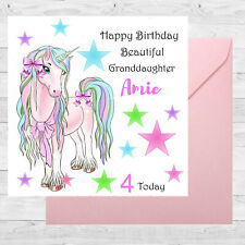 Personalised Birthday Card size 6x6 /1st/2nd/4th/Granddaughter/Daughter/Unicorn