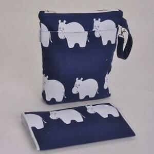 Barefoot Bambino Baby Changing Bag & Mat Small Diaper Nappy Bag Hippo Navy Blue