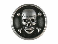 6 Skull & Bones 5/8 inch ( 15 mm ) Metal Buttons Antique Silver