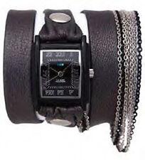 La Mer Carbon Multi Chain Gunmetal Leather Watch