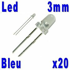 20x Led 3mm Bleues 5000mcd