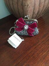 Coach Soho Jewel Tweed Pouch FOB Kiss-lock Key Chain 1747 $78 W11