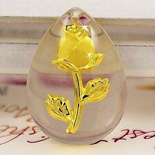 999 Fine Gold Plated Rose Glass Drop Pendant!  (d88)