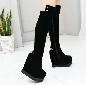 Womens Wedge Platform Over The Knee High Boots High Heels Round Toe Zipoer Shoes