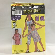 New Uncut Simplicity Patterns for Dummies Pattern 9607 Size K5 7-14 Free Ship