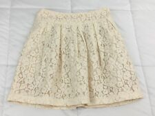 FOREVER 21 Cream Beige Floral Lace Lined Pockets Mini Skirt Size XS Extra Small