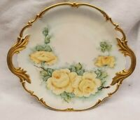 Hutschenreuther Selb Bavaria Handled Cake Plate Gold Trim hand painted flowers