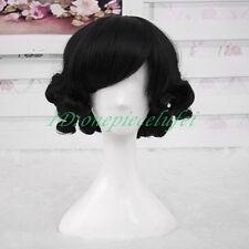 30cm Pin-up Short Sweet Bob Charming Curly Black Party COS wig CC79+a wig cap