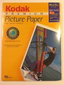 NEW & SEALED KODAK Premium PPP-3-A Picture Paper High Gloss 8.5 x 11 Pack of 15