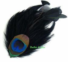 Black Peacock Feather Hair Clip Pin Accessories Fascinator Handmade in UK 'Ava'