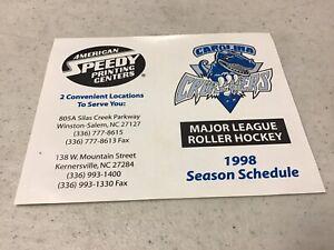 1998 Carolina Crushers Major League Roller Hockey Pocket Schedule