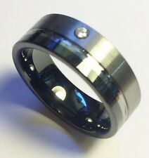 "Stunning Pure Tungsten Men's Dress Ring ""2 Tone Single CZ"" Size 10 (OYCTD0001)"
