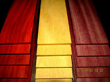"9 PIECE MULTIPAK THIN EXOTIC YELLOWHEART, PURPLEHEART, PADAUK 24"" X 3"" X 1/4"""