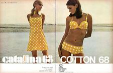Catalina Yellow Polka Dot Bikini BEACHWEAR Mini Dress Pretty in Cotton 1968 Ad