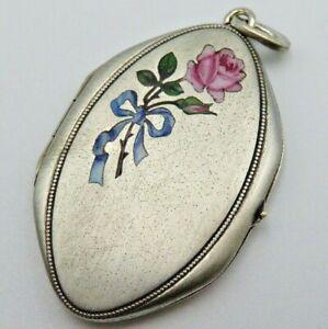 Wunderschönes Jugendstil 800 Silber Medaillon mit Emaille Rosen (C)