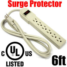 6FT 6 Outlet 1875W Surge Protector 90J Power Strip UL Listed 15A 60hz Wall Plug