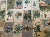 Nice~Lot of~25~FORGET-ME-NOTS~FLOWERS~Vintage~Greeting~Postcards-in Sleeves-a635