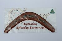 """Carded Australian Made 12"""" decorated timber throwing boomerang - Croc design"""