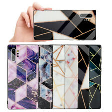 For Samsung Note 10+ S10e S9 Slim Marble Pattern Tempered Glass Hard Case Cover