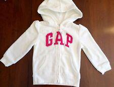 NWT BABY GAP Girls Size 4 White Full Zip Hoodie Pink Arch Logo Fleece Sweatshirt