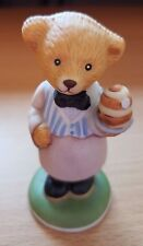 Franklin Mint William Porcelain Collectible Figurine Teddy bear waiter hotel Guc
