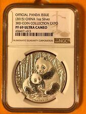 China 2015 3rd Panda Expo 1 oz Ag Medal (Mirrored) NGC PF69 UC SN# 4584071-013