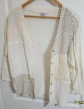 David Wayne 80's Vintage Womens Off White Cream Lace Ribbon Large Top Jacket
