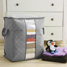 New Bamboo Charcoal Folding Clothes Blanket Closet Organizer Storage Bag Box w/