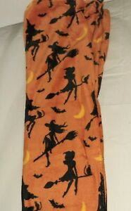 Halloween Throw Blanket Bewitched Witch on Broom Bats Plush Orange Holiday NEW