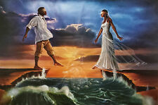 "African American Art ""Step Out on Faith - Love"" Religious Art Print by WAK"