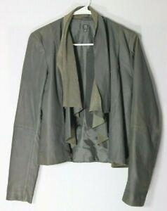 Saks Fifth Avenue womens long sleeve gray draped 100% leather jacket, size Small