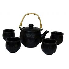 More details for chinese tea set - black ceramic - etched plum branches pattern