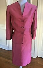 TAHARI Women 2 PC Pink 3/4 Sleeves Skirt (Size 8) Suit (Size 10)