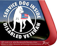 Service Dog Inside, Disabled Veteran | Cropped Cane Corso Window Decal