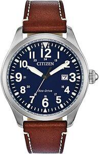 Citizen Eco-Drive Chandler, Blue Dial Brown Leather Men's Watch - BM6838-17L