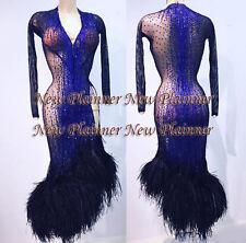 L723 Ostrich Feather Ballroom Samba Cha Cha Ramba Latin  Rhythm US 8 Dance dress