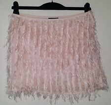 TOPSHOP LIGHT PINK FEATHERY TASSELS EFFECT LINED 3D SILKY MINI TAILORED SKIRT 10