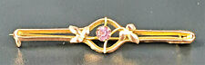 Pretty Art Nouveau 9 ct Gold and Amethyst Pin Brooch