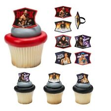 WWE Cupcake Toppers Rings - 24 pcs Cake Toppers Wrestling Birthday Party