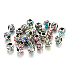 10pcs Mixed Silver Crystal Spacer BEADS Fit European Charm Bracelet