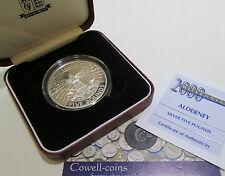 2000 ALDENEY £5 FIVE Pounds Silver Proof Crown Coin MILLENNIUM BOX/COA