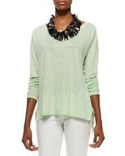 Eileen Fisher Organic Linen Cotton Mint Green Long Sleeve Sweater New