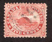 Sc 15 - Canada - 1859 - 5 Cent - RF 5 cancel -  Used F/VF -  superfleas - cv$35
