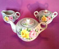 Hand Painted Tea Set - Teapot Sugar Creamer- Blue & Pink & Yellow Roses - Japan