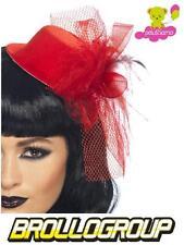 Rosso Nero Glitter Mini Cappello Piuma Costume Burlesque Hen Night Party Nuovo